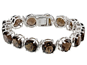 Brown smoky quartz rhodium over sterling silver bracelet 52.50ctw