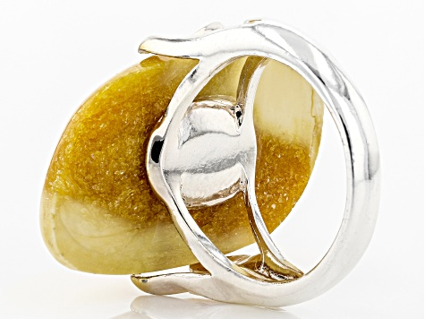 Yellow butterscotch amber sterling silver ring