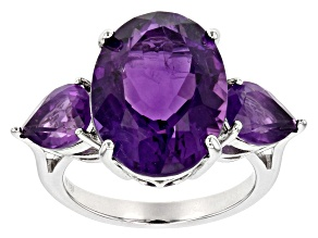 Purple amethyst rhodium over sterling silver ring 8.89ctw