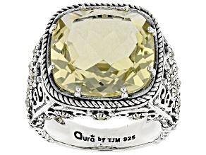 Yellow quartz sterling silver ring 9.71ct