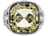 Yellow quartz sterling silver ring 9.71ct