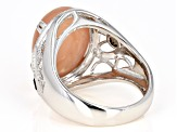 Peach moonstone sterling silver ring 1.19 ctw
