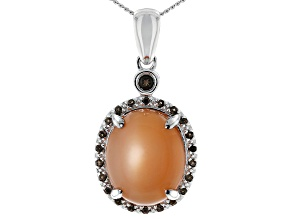 Peach moonstone silver pendant with chain .12ctw