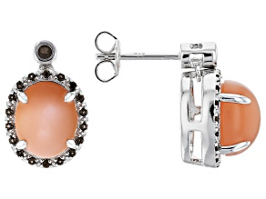 Peach moonstone silver earrings .19ctw