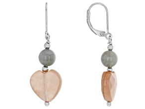 Peach moonstone sterling silver earrings