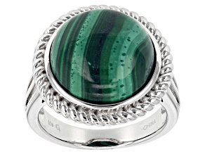 Green malachite sterling silver ring