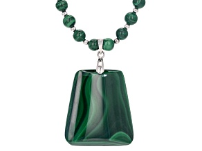 Green Malachite Rhodium Over Sterling Silver Bead Necklace