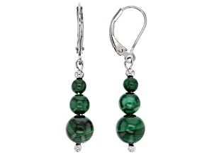 Green malachite sterling silver earrings