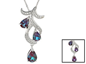 Color Change Lab Alexandrite Rhodium Over Silver Pendant With Chain 2.56ctw