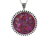 Purple turquoise flower rhodium over sterling silver enhancer with chain