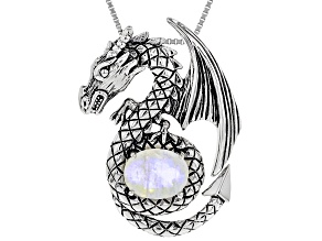 9X7MM OVAL RAINBOW MOONSTONE STERLING SILVER DRAGON PENDANT WITH CHAIN
