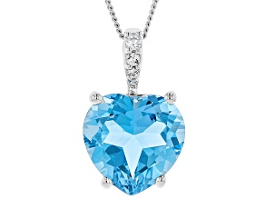 Blue topaz silver pendant with chain 5.05ctw