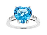 Blue topaz sterling silver ring 5.70ctw