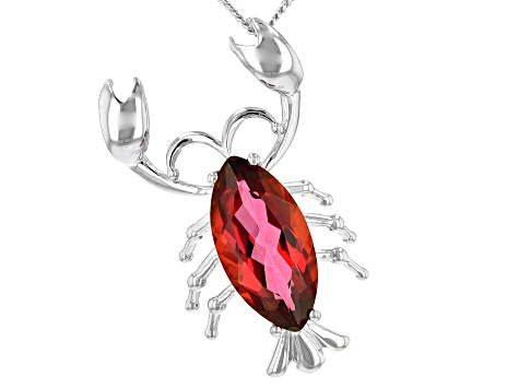 Red Moonlit fire(TM) mystic topaz(R) silver pendant with chain 2.85ct
