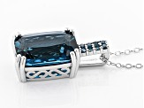 London blue topaz sterling silver pendant with chain 7.07ctw
