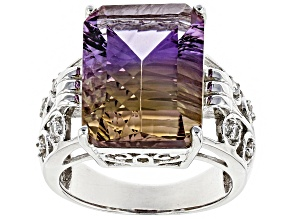 Bi-color pineapple cut ametrine rhodium over silver ring 9.49ctw