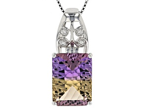 Bi-color ametrine rhodium over sterling silver pendant with chain 8.40ctw