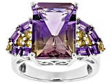 Bi-color ametrine rhodium over sterling silver ring 7.81ctw