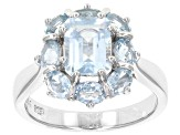 Blue aquamarine rhodium over sterling silver ring 2.64ctw