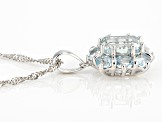Blue aquamarine rhodium over sterling silver pendant with chain 2.17ctw