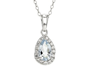 Blue aquamarine silver pendant with chain .79ctw