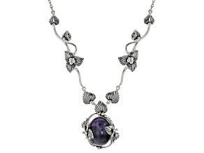 Purple Morado Opal Rhodium Over Sterling Silver Necklace