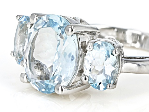 Blue aquamarine rhodium over sterling silver 3-stone ring 3.83ctw