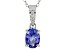 Blue tanzanite rhodium over sterling silver pendant with chain 1.03ctw