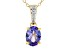 Blue tanzanite 18k yellow gold over sterling silver pendant with chain 1.03ctw