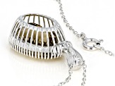 Champagne quartz rhodium over sterling silver pendant with chain 9.50ctw
