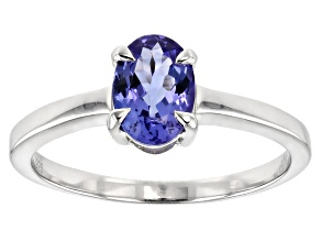 Blue tanzanite sterling silver solitaire ring .93ct
