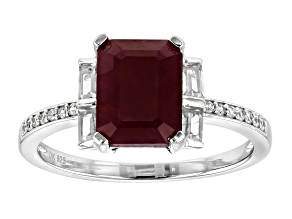 Red ruby sterling silver ring 3.07ctw