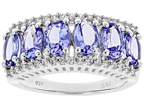 size 5.0 3.60 Ctw Tanzanite Ring In Platinum Over Sterling Silver