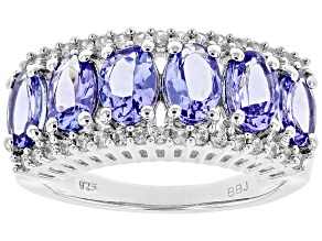 Blue tanzanite rhodium over sterling silver band ring 2.72ctw