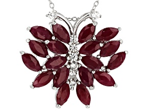 Red Indian ruby rhodium over silver butterfly pendant with chain 6.39ctw