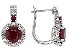 Red indian ruby sterling silver earrings 3.22ctw
