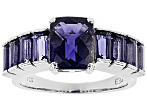 Purple iolite rhodium over sterling silver ring 3.54ctw