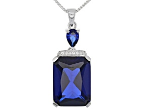 Blue lab created spinel pendant with chain 12.33ctw