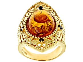 Orange amber 18k yellow gold over sterling silver ring .20ctw
