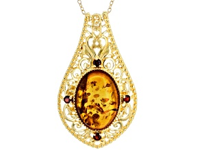 Orange amber 18k yellow gold over sterling silver pendant with chain .17ctw