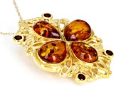 Orange amber 18k yellow gold over sterling silver pendant with chain .48ctw