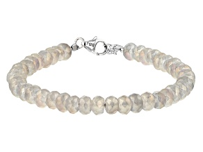 Mercury Mist® Quartz Bead Rhodium Over Sterling Silver Bracelet 50.00ctw