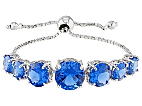 Blue lab created spinel sterling silver bolo bracelet 23.10ctw