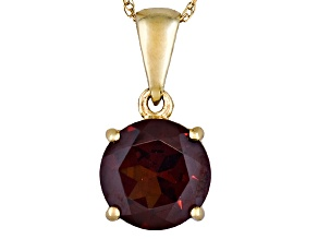 Womens 2.07ctw 8mm Round Red Garnet Solid 14kt Gold Solitaire Necklace