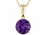 1.67ctw 8mm Round Purple Amethyst Solid 14kt Gold Solitaire Necklace