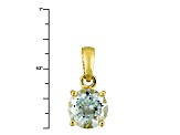 1.9ctw 8mm Round Blue Aquamarine Solid 14kt Gold Solitaire Necklace