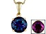 2.2ctw 8mm Round Blue Lab Created Alexandrite Solid 14kt Gold Solitaire Necklace