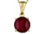 Womens 2.25ctw 8mm Round Red Ruby Solid 14kt Gold Solitaire Necklace
