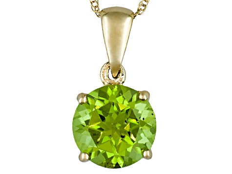 Manchurian Peridot™ 2.10ct Round 14k Yellow Gold Solitaire Pendant With Chain