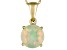 Womens 1.11ctw 8mm Round White Opal Solid 14kt Gold Solitaire Necklace